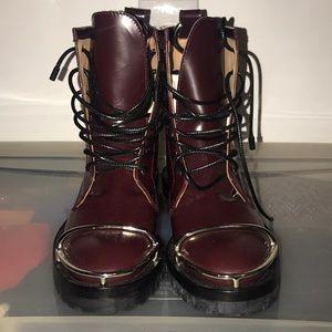 Alexander wang burgundy combat boots